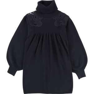 Chloé GIRL TURTLENECK DRESS W/ GUIPURE ON SHOULDERS