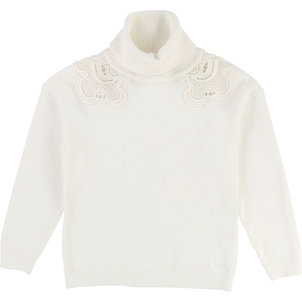 Chloé GIRL TURTLENECK DRESS W/ GUIPURE ON SHOULDERS-OFF WHITE
