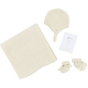Chloé NEWBORN KNITTED GIFT SET: BLANKET+HAT+KNITTED SHOES