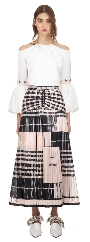 Self-Portrait Scarf print pleated midi skirt Skirts