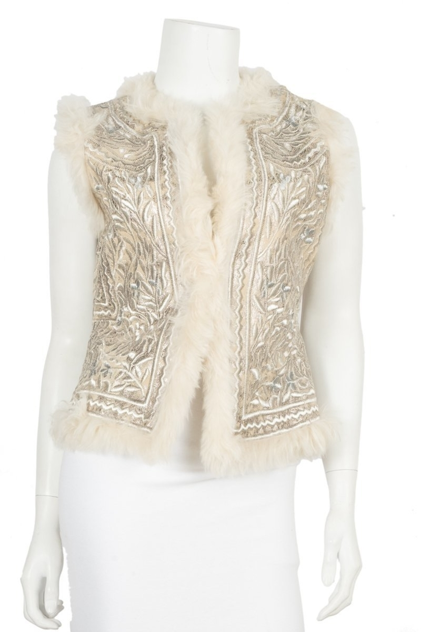 Tory Burch Tory Burch Silver Embroidered Vest Sz Small Outerwear