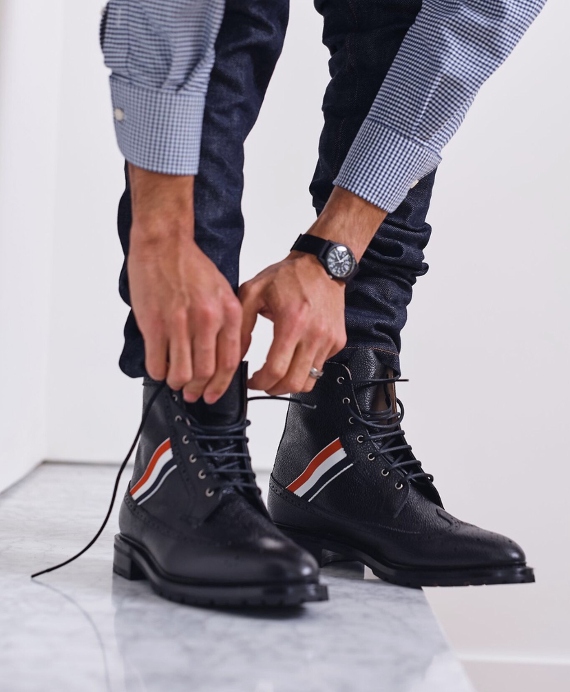 Thom Browne LONGWING BOOT WITH RED, WHITE, BLUE WEBBING Men's
