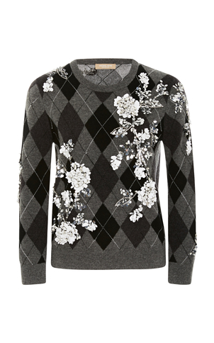 Michael Kors Embroidered Argyle Sweater Tops