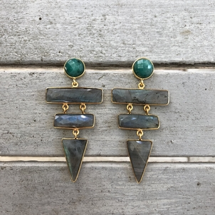 Theodosia Jewelry Labradorite & green onyx earrings Jewelry