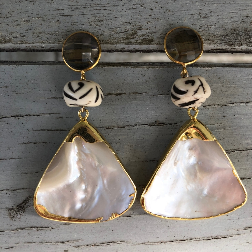 Theodosia Jewelry Smokey quartz & pearl earrings Jewelry