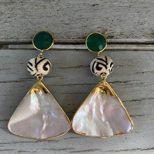 Theodosia Jewelry Green jade & pearl earrings Jewelry