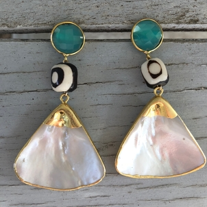 Theodosia Jewelry Sea foam chalcedony & pearl earrings Jewelry