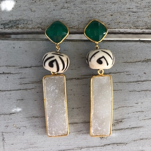 Theodosia Jewelry Green jade & druzi earrings Jewelry