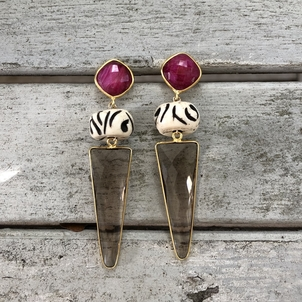 Theodosia Jewelry Garnet & smokey quartz earrings Jewelry