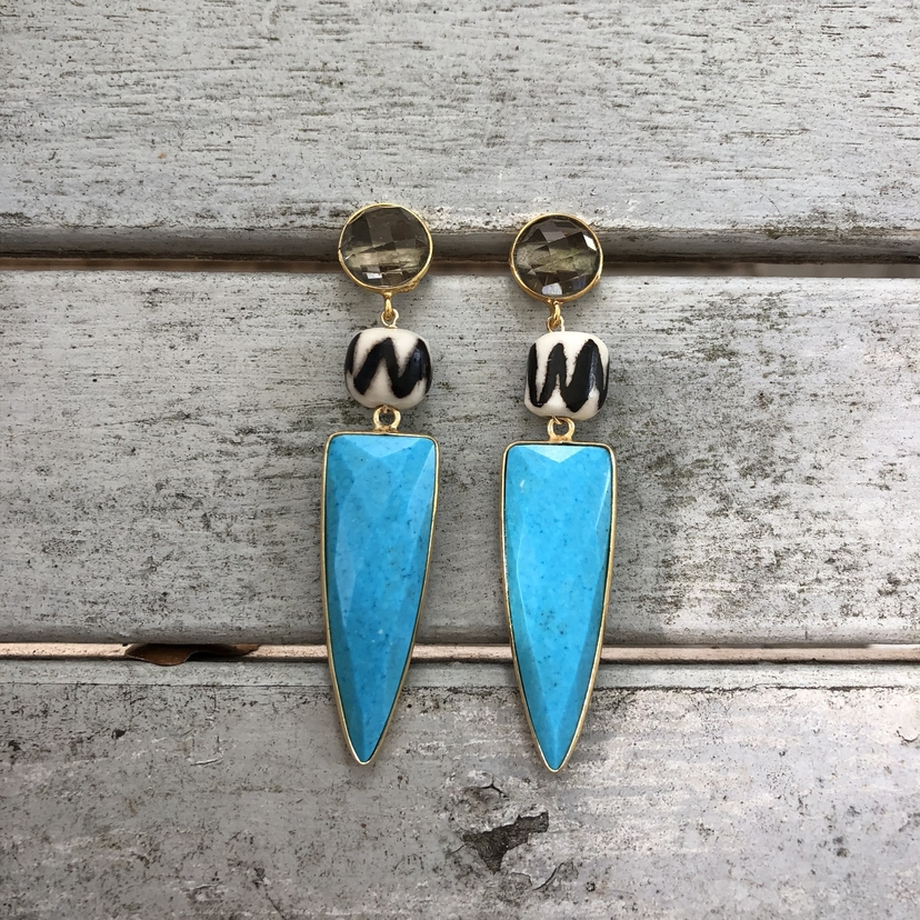 Theodosia Jewelry Smokey quartz & turquoise earrings Jewelry