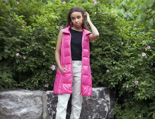 Anorak Down Nylon Vest - Hot Pink Outerwear