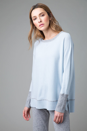 kinross cashmere Hi Low Sweatshirt - Artic/Sterling Tops