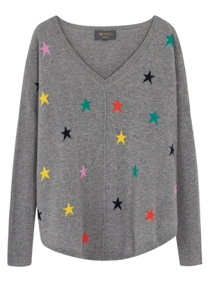 Wyse Cashmere Emilie Multi Star Sweater Tops