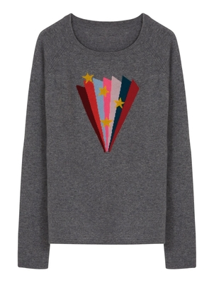 Wyse Cashmere Mia Rainbow Fan Sweater Tops