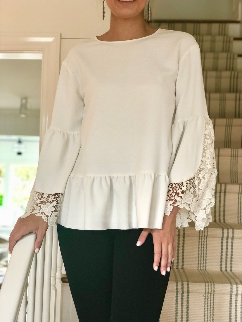 See by Chloé Lace Detail Sleeve Top Tops