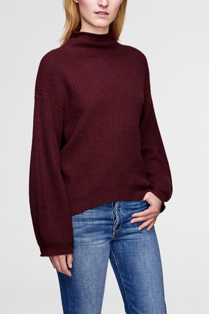 White + Warren Claret Heather Cashmere Luxe Stitch Standneck Tops
