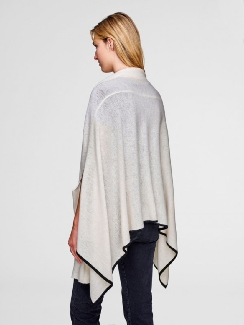 White + Warren White and Black Cashmere Contrast Tipped Cape Tops