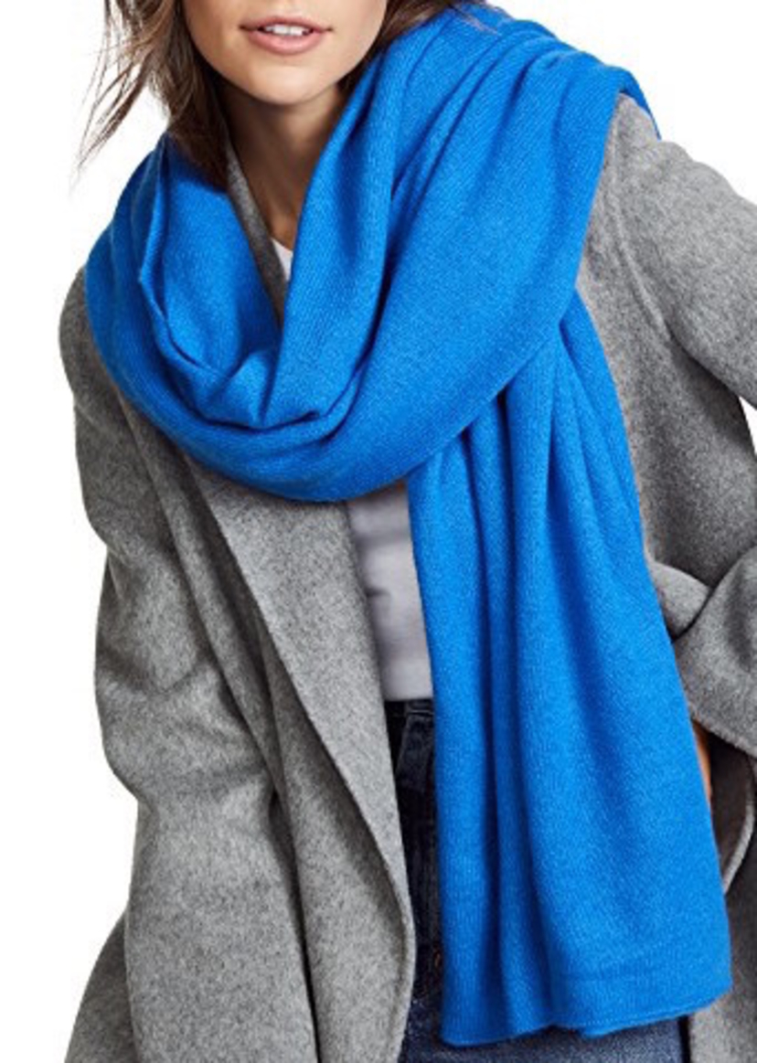 White + Warren French Blue Cashmere Travel Wrap Outerwear