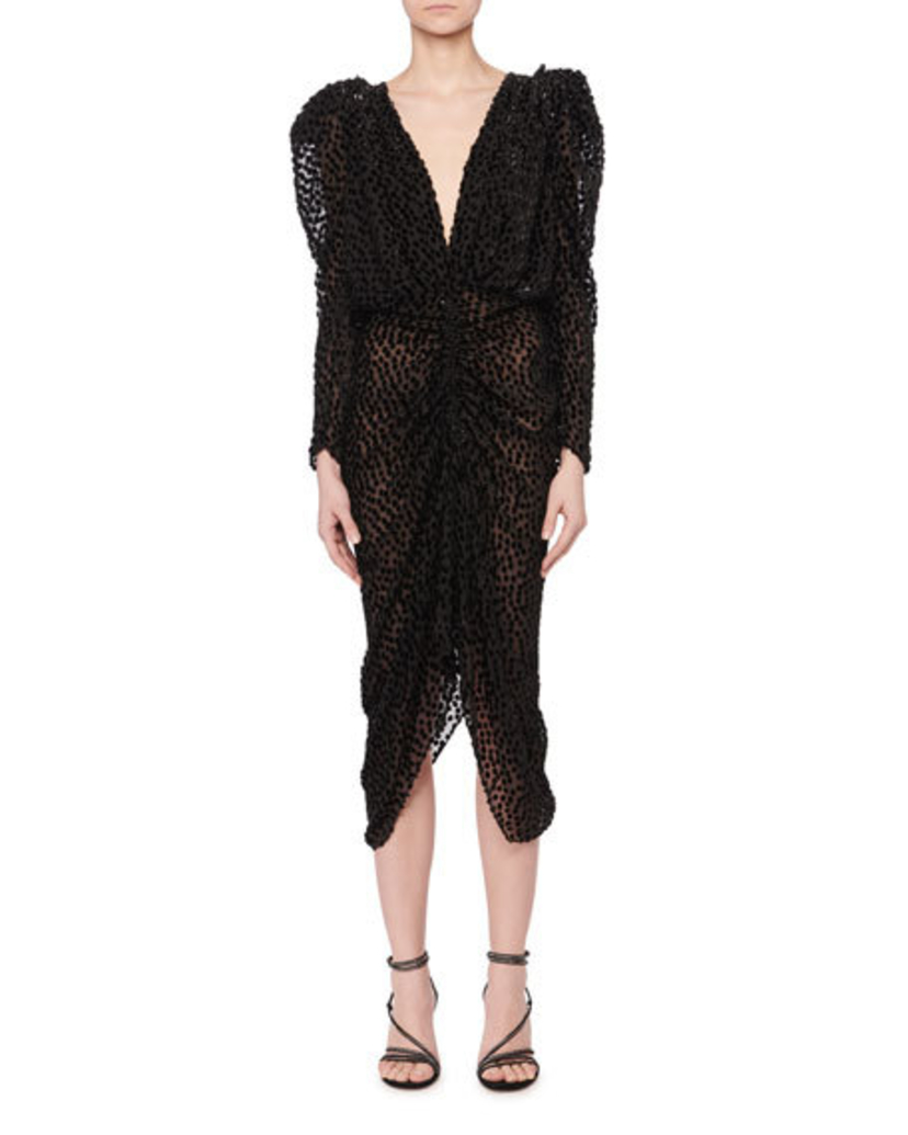 Isabel Marant Maray Plunging Ruched Fitted Dot Devore Velvet Midi Cocktail Dress Dresses