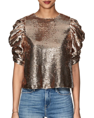 Ulla Johnson Rae Metallic Sequined Blouse Tops