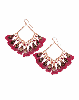 Kendra Scott Raven Feather Earrings - Maroon Jewerly