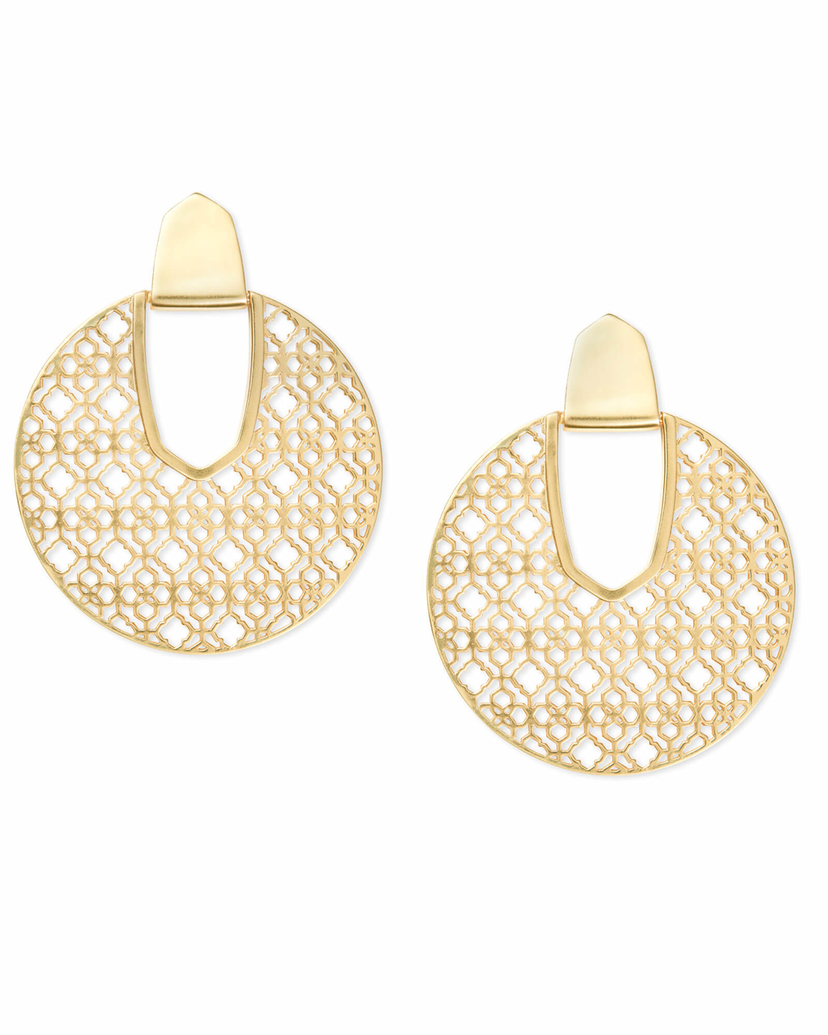 Kendra Scott Diane Earrings Gold with Design Jewerly