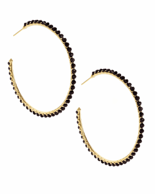 Kendra Scott Birdie Hoop - Black Opaque Glass Jewerly