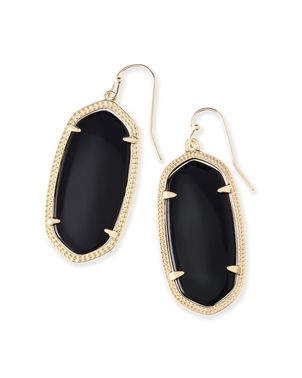 Kendra Scott Elle Drop Earrings - Black Opaque Glass Jewerly
