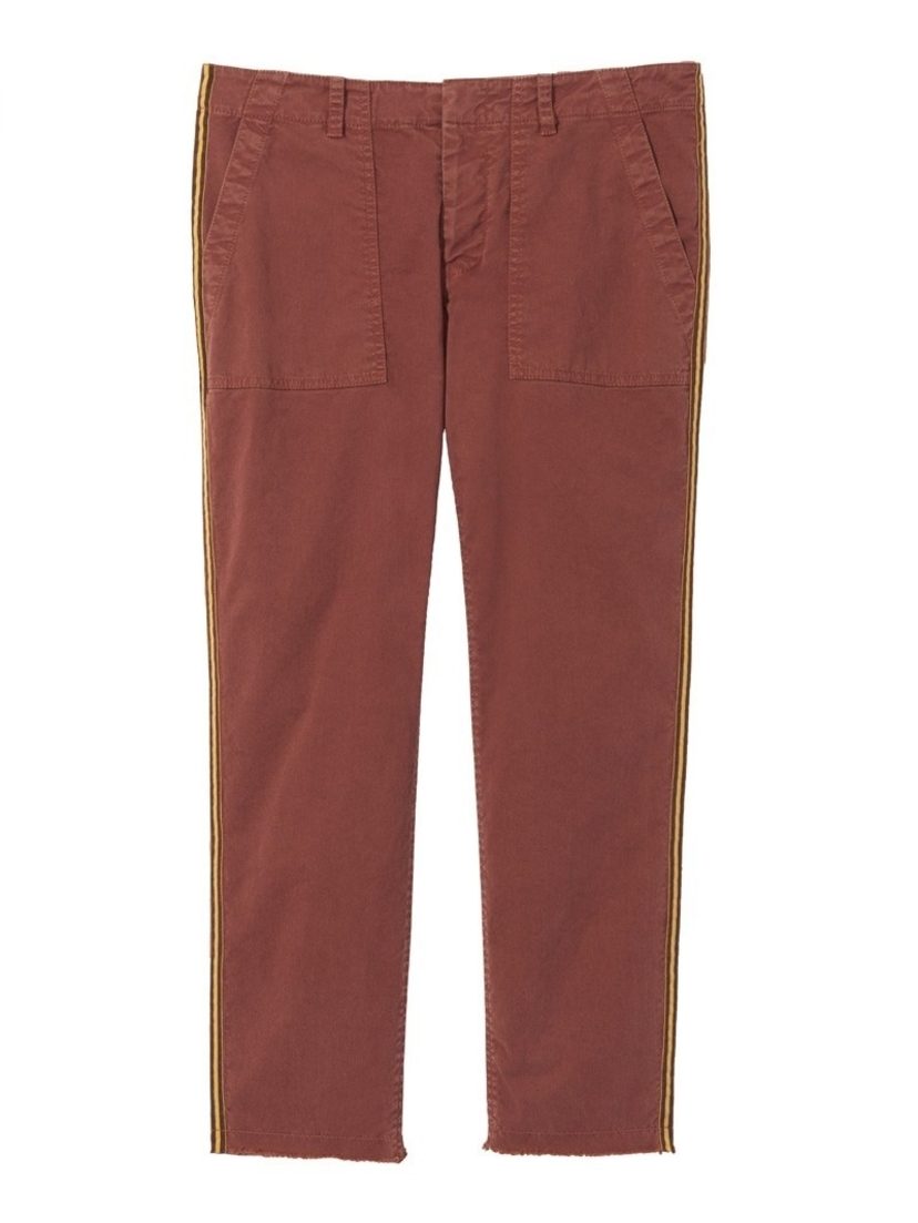 Nili Lotan Rust Jenna Pant with Brown Tape Pants