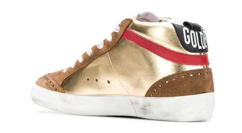 Golden Goose Deluxe Brand Mid Star - Gold Laminate, Glitter Star Shoes