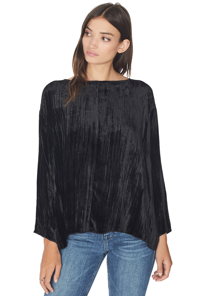 Giada Forte Pleated Velvet Round Neck Top Tops