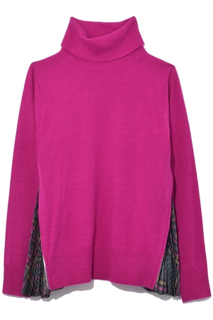 Sacai Glencheck Printed Pleated Side Turtleneck Knit in Pink Tops