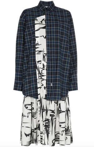 Balenciaga Silk and Flannel Layered Dress Dresses