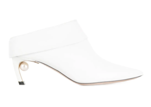 Nicholas Kirkwood White Mule Leather Bootie Shoes