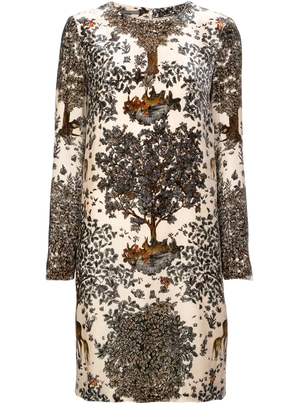 Alberta Ferretti Fantasy Print Velvet Dress Dresses