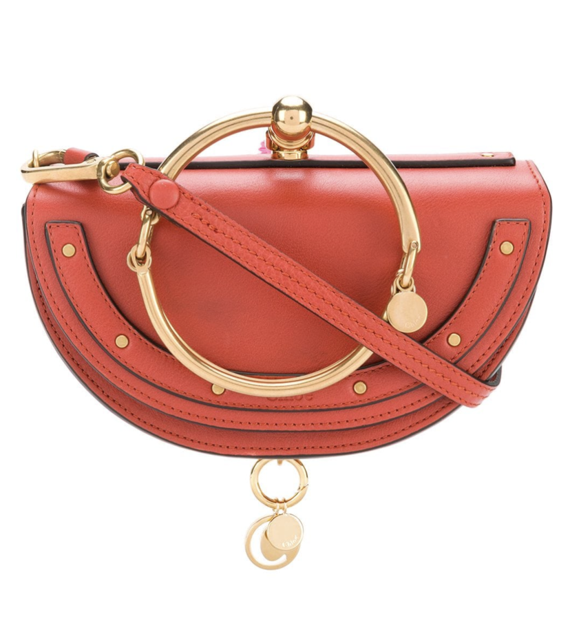 Chloé Mini Nile Leather Clutch in Earth Red Bags