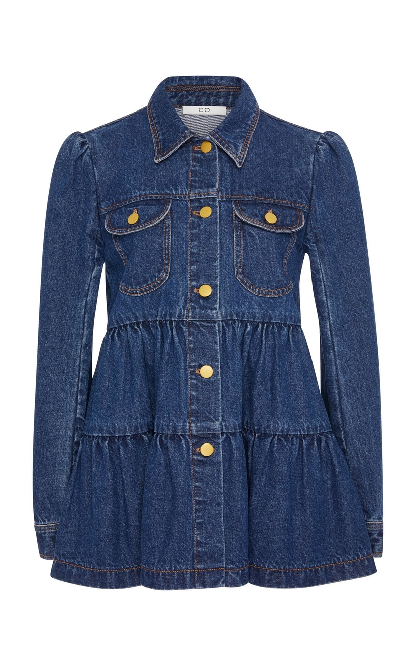 Co Denim Tiered Top Outerwear Tops
