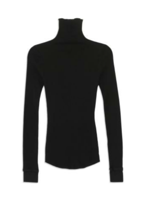 Bliss and Mischief Black Ribbed Turtleneck Tops