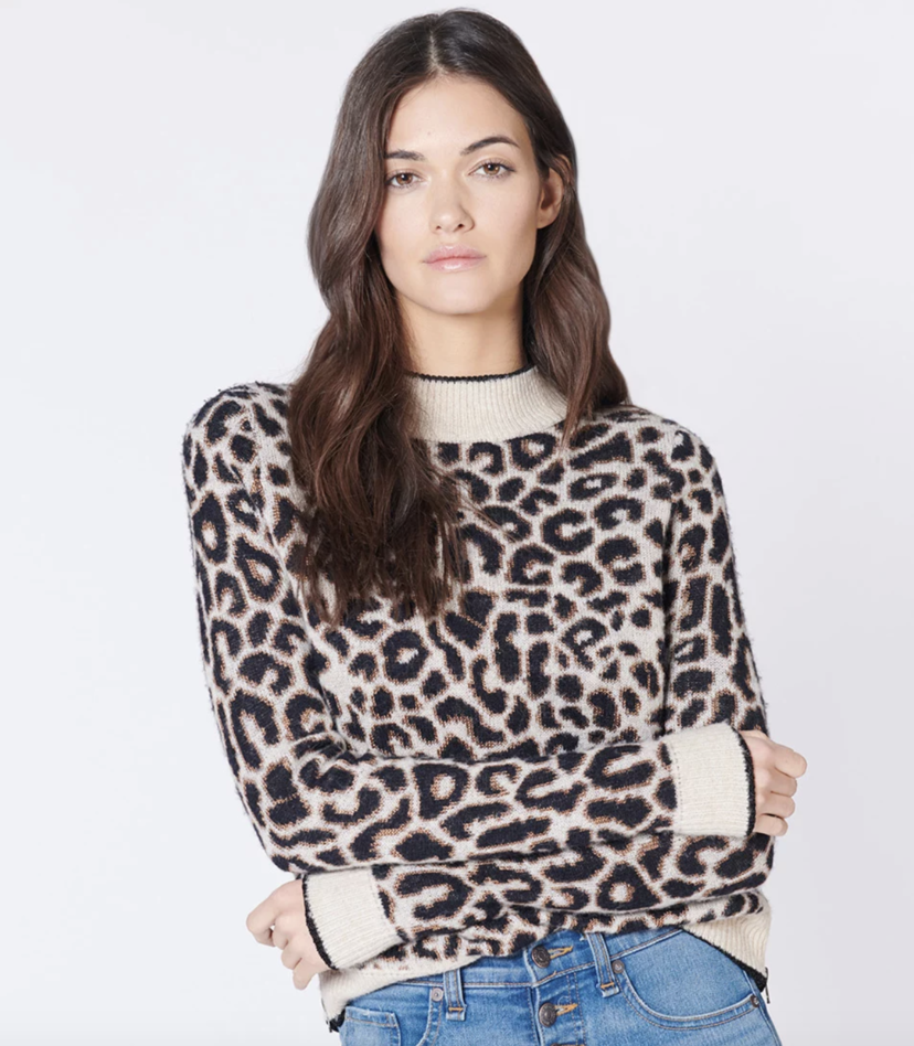 Veronica Beard Marly Sweater - Leopard Tops