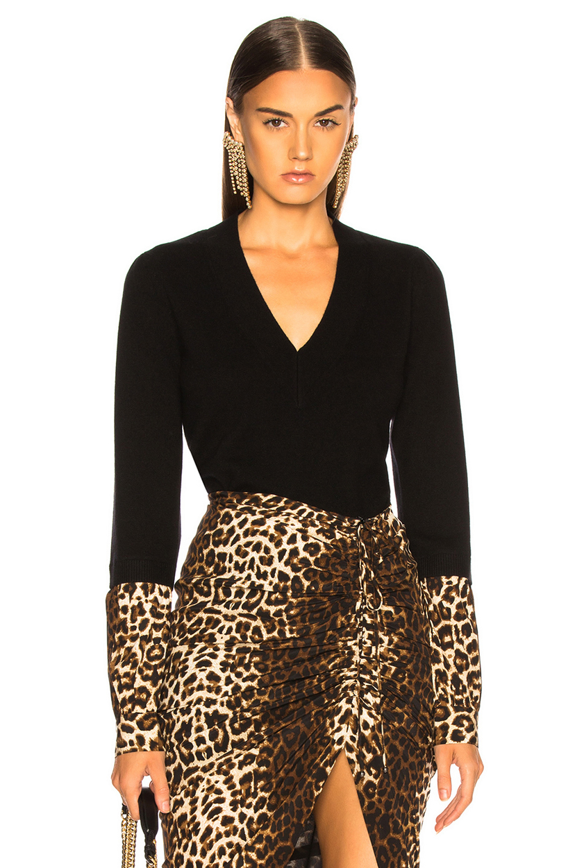 Veronica Beard Alba Sweater - Black/Leopard Tops