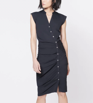 Veronica Beard Ruched Shirt Dress - Black Dresses