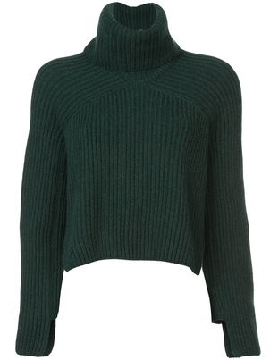 Rosetta Getty Ribbed Cropped Turtleneck Pine Tops