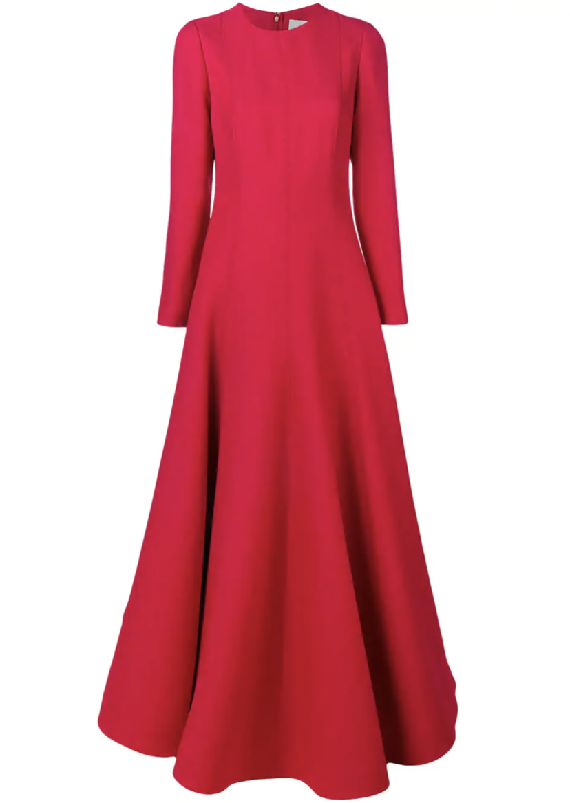 Valentino Long Sleeve Red Gown Dresses