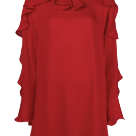 Red Ruffle Tunic Blouse