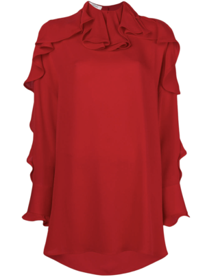 Valentino Red Ruffle Tunic Blouse Dresses