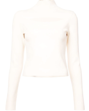 Proenza Schouler Long Sleeve Cream Turtleneck Sweater with Cut Out Tops
