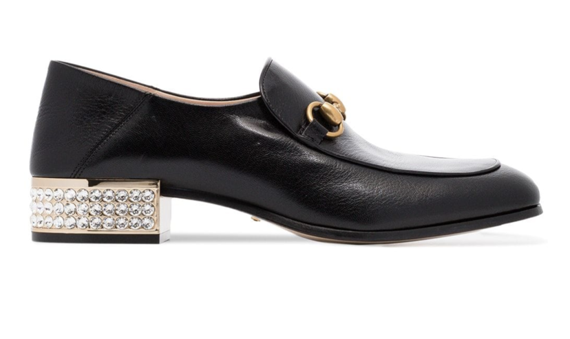 Gucci Black Loafers with a Crystal Heel Gifts Shoes
