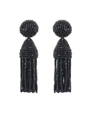 Oscar de la Renta Black Beaded Short Tassel Earrings Jewelry
