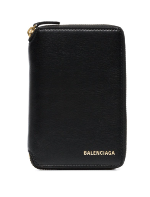 Balenciaga Black Logo Small Zip Wallet Bags