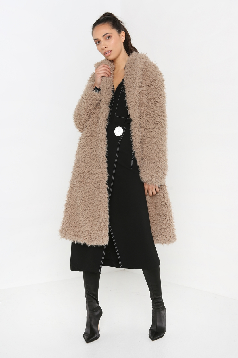 Unreal Fur De La Cream Coat in Coffee Outerwear